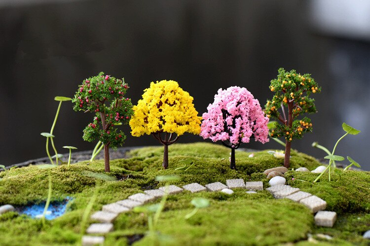 8 piunids/lote Mini árbol terrario figurillas jardín miniatura resina artesanía hogar jardín decoración Micro paisaje Bonsai planta KS 030