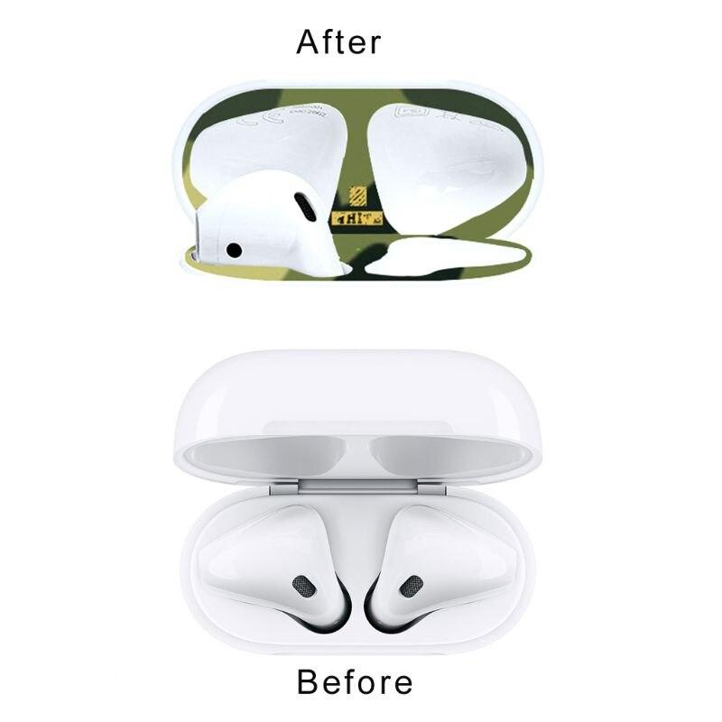 1 Juego de pegatina protectora antipolvo de camuflaje estuche para auriculares estuche a prueba de polvo para Airpods 1/2 caja de carga