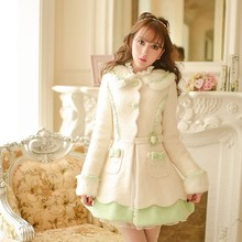 Princess sweet lolita coat Candy Rain Winter new Sweet bowknot single-breasted female cloth slim coat C15CD5987