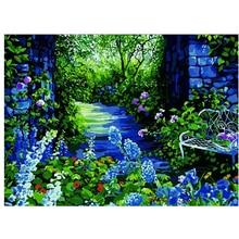 Bleu et vert bricolage peinture à colorier par numéro outils photo belle peinture par numéros Surprise cadeau art fournitures livraison directe