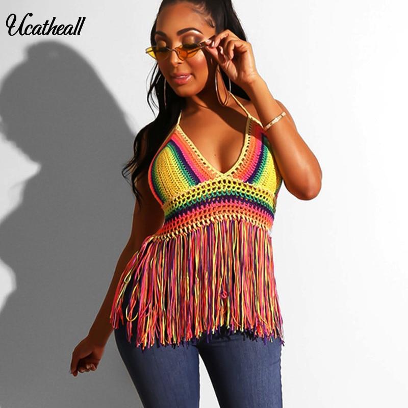 Top de punto con borla de ganchillo para mujer, Top Sexy de playa con escote en V profundo, camiseta sin mangas con espalda descubierta, Tops con flecos para mujer