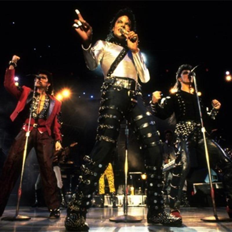 MJ Michael Jackson BAD PUNK Black ، ملابس الهالوين ، أزياء روك ، أزياء الهالوين ، بنطلون/بنطلون برشام 27-36