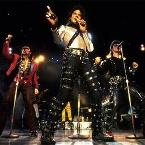 MJ Michael Jackson BAD PUNK Black Silm Fit Show Rock Halloween CostumePerformance Rivet Trousers /pants 27-36