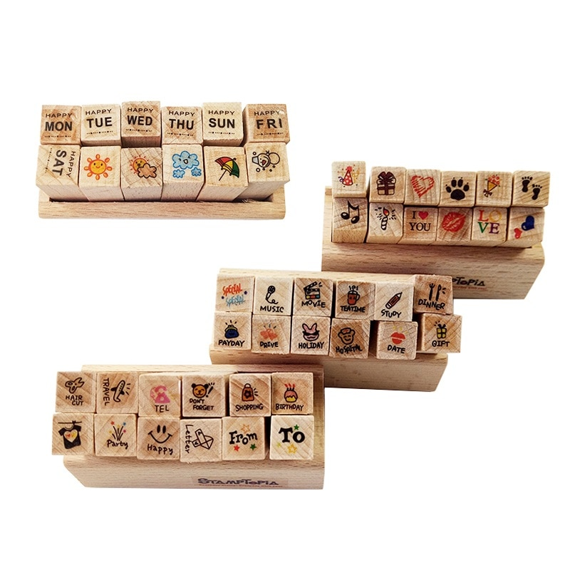 12 Pcs/set New Cartoon Pattern Wooden Stamp Set Happy Life Love & Travel Dairy Rubber