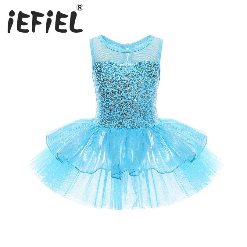 Lentejuelas niños niñas bailarina leotardo vestido de tutú de ballet niños trajes de baile niñas gimnasia entrenamiento bailarina princesa vestidos