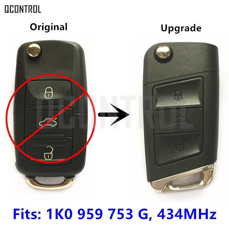 QCONTROL Remote Key Upgrade for SKODA Octavia II 434MHz ID48 Chip 1K0 959 753 G / 1K0959753G / 753G