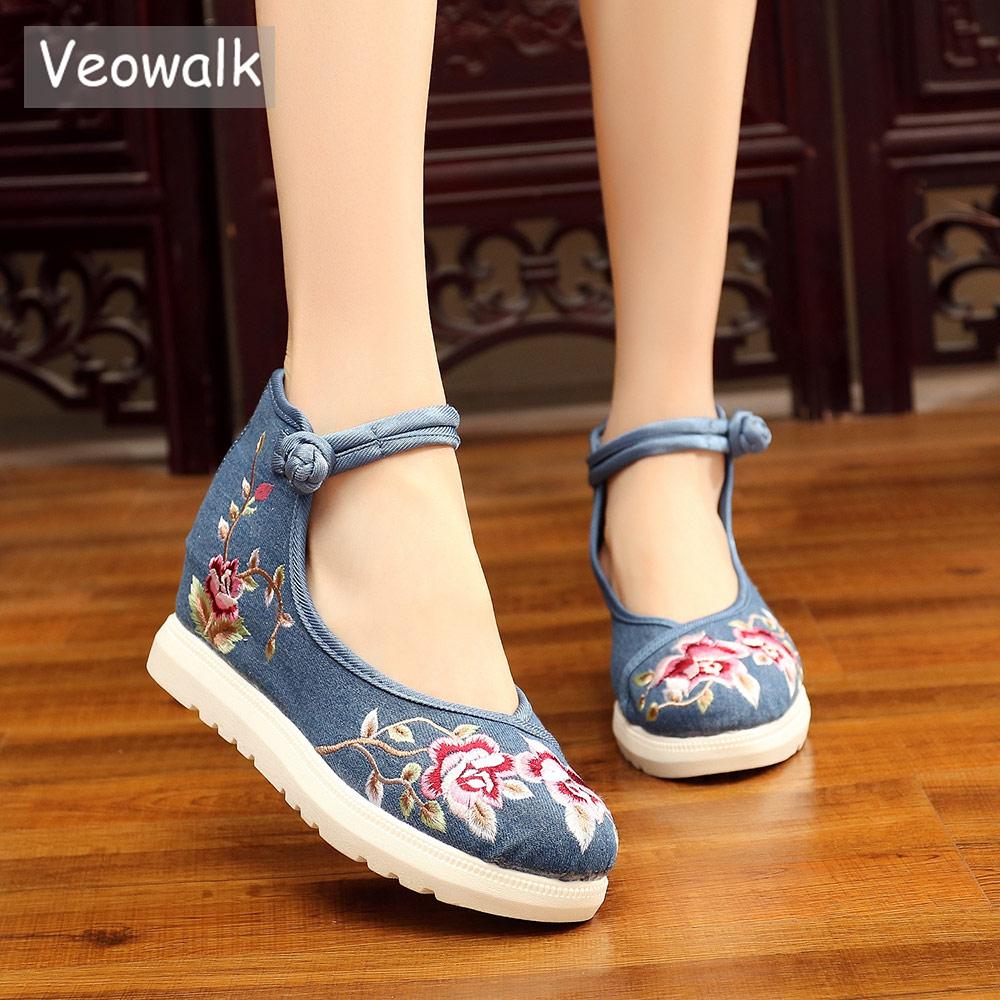Veowalk-حذاء قماش نسائي ، حذاء مصعد ، منصة مخفية ، حذاء كاجوال ، صناعة يدوية ، على الطراز الصيني ، زاحف مطرزة بالزهور