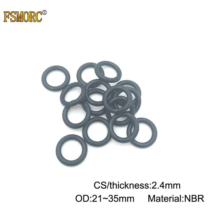 100/500 stücke OD 21 22 23 24 25 26 27 28 29 30 31 32 33 34 35mm x 2,4mm Dicke CS NBR o ring dichtung Gummi Ring Dichtung Mechanische