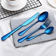 High-end bestek 4 Stuks Blauw kleur roestvrijstalen mes en creatieve kleur Westerse steak vork en lepel kerst servies set