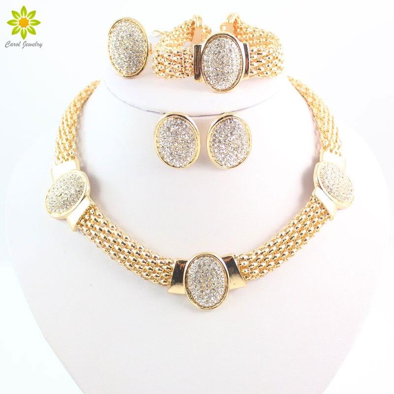 Conjunto de joyas de cristal transparente de Color dorado con forma ovalada, conjunto de joyas de pendiente y collar a la moda para boda, conjuntos de bisutería de traje africano para novia