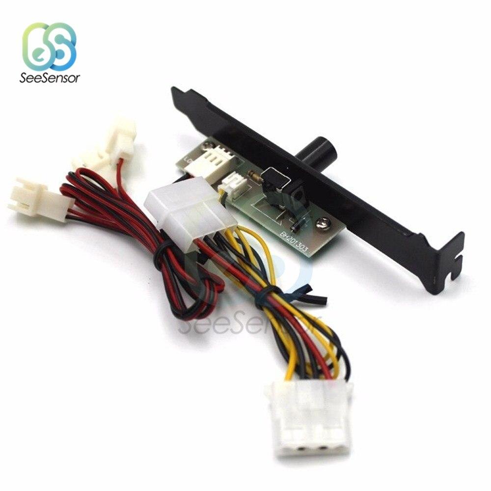 3 ערוצים מחשב Cooler קירור מאוורר מהירות בקר עם PCI סוגר כוח על ידי 12V 4Pin עבור מעבד מקרה HDD VGA מאוורר