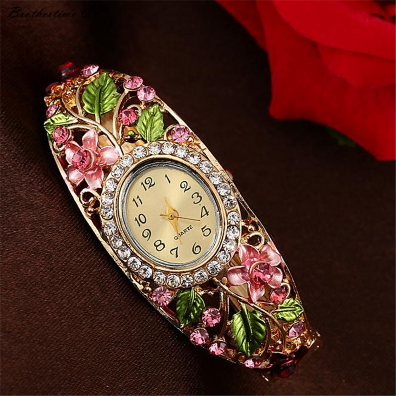 Reloj de pulsera para Mujer Motre, brazalete con flores de cristal, reloj de pulsera de cuarzo para Mujer, Relojes de vestir para Mujer, Relojes de Mujer #-010
