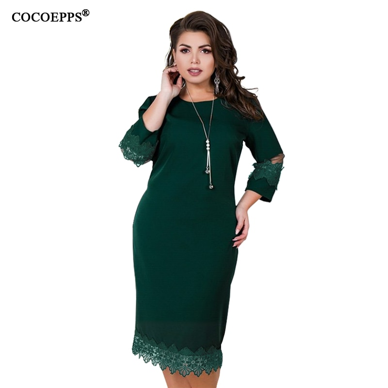 5XL 6XL 2019 vestido de encaje de talla grande de otoño para mujer, vestido informal de retazos de malla de talla grande para oficina, ropa elegante de fiesta para mujer