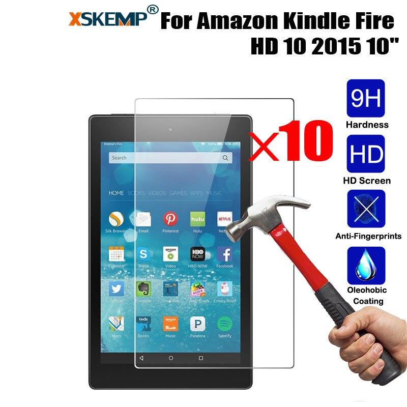 XSKEMP 10 unids/lote 9 H protector de vidrio templado Real para Kindle fire HD10 2015 evitar arañazos Tablet PC pantalla LCD protector de la película