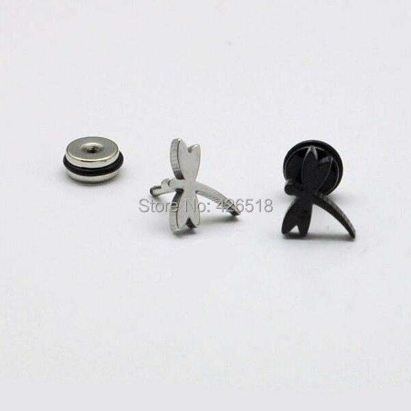Lovely Dragonfly White Black titanium steel Men Women Screw Back (pierced) stud earrings