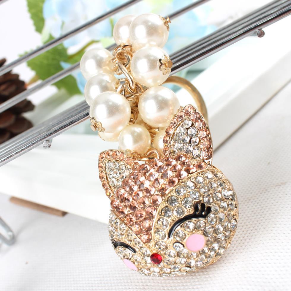 Fox Gold Head Beads encanto colgante de diamantes de imitación de cristal bolso llavero mujeres en joyería lindo regalo
