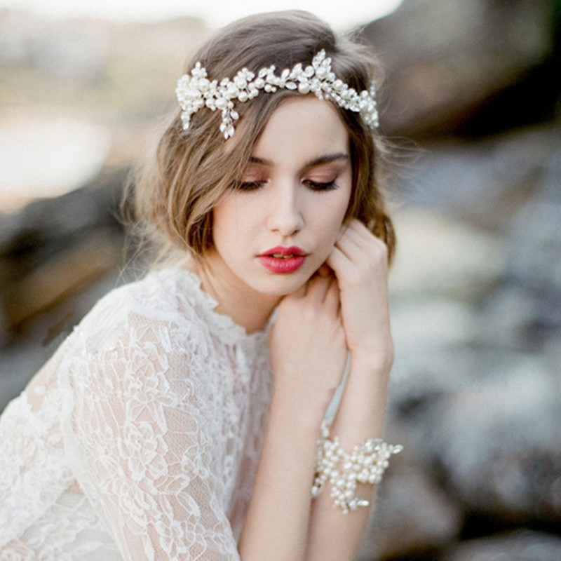 Diadema de novia de cristal de imitación de perlas de 2019 hojas corona barroca diadema para fiesta boda tiara de joyería para el pelo accesorios para el cabello de novia