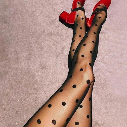 2019 NEW Women Black White Big Dots Seamless Sexy Sheer Thin Stockings Lingerie Elastic Pantyhose Tights Hosiery
