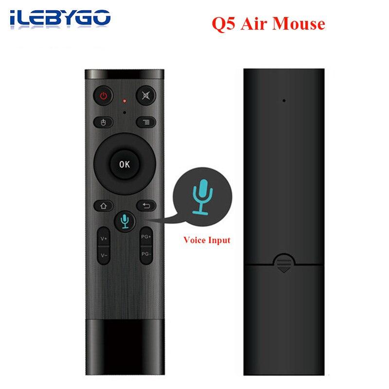 Ilebygo Q5 Mini teclado Bluetooth Control remoto por voz para Smart TV Android Box IPTV inalámbrico 2,4G ratón del aire con receptor USB