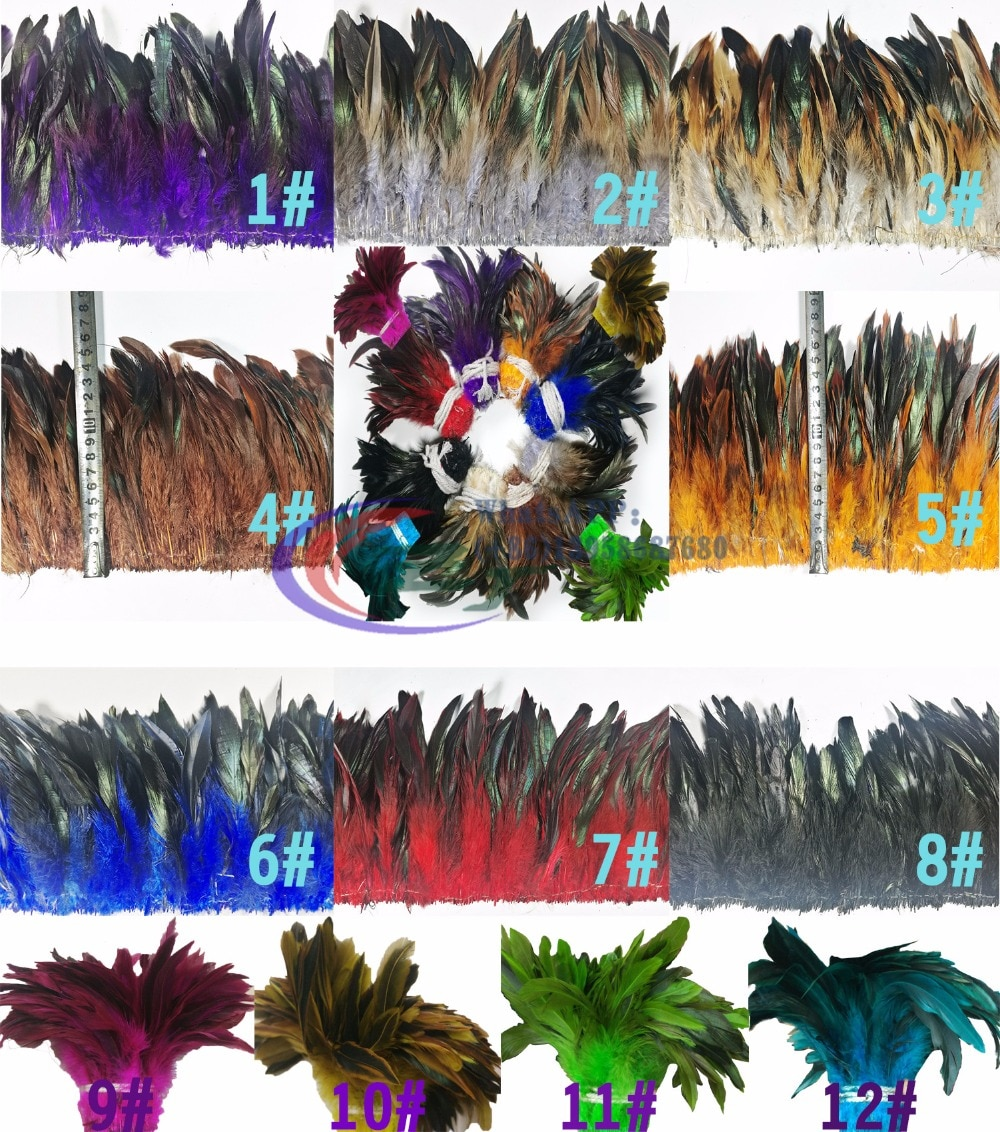 ¡Oferta! 900 Uds./Paquete de pluma de cola teñida de 5-7 pulgadas con borde de plumas/flecos para falda de moda/Vestido/traje/artesanía 12 colores