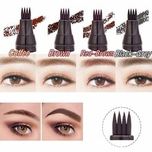 4 Heads Fork Black Brown Color Waterproof Eyebrow Pen Liquid Natural Eyebrow Pen Make-Up Painting Br