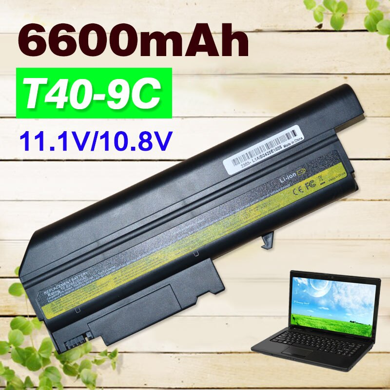 11.1V 6600MAH Replacement Battery for IBM 92P1101 92P1102 92P5002 93P5002 93P5003 ASM 08K8192 ASM 08K8196 ASM 08K8197 T40p t40