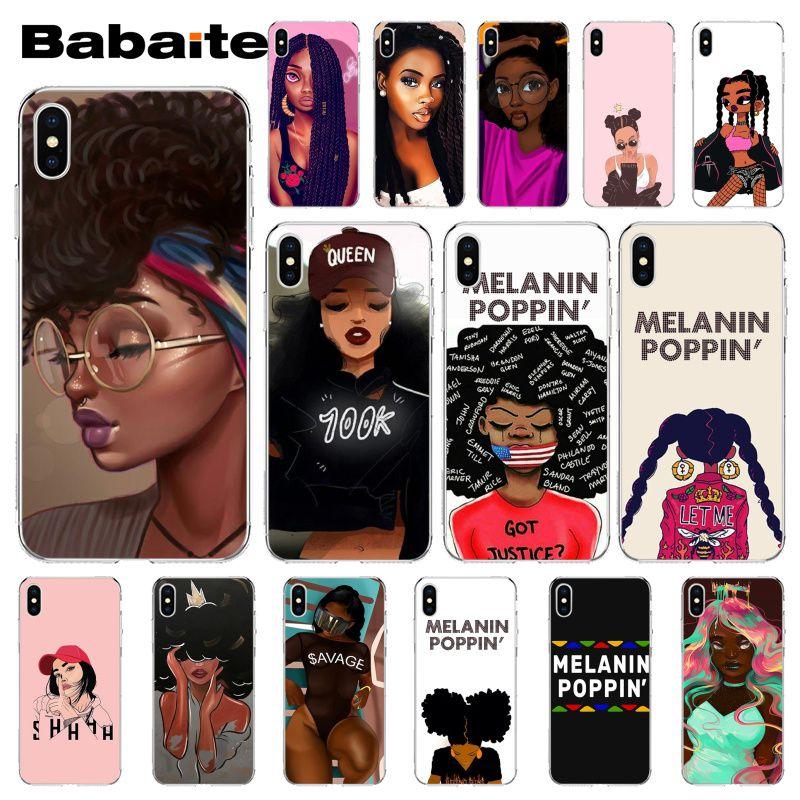 Babaite melanina POPPIN chica negro personalizado foto funda de teléfono suave para iPhone X XS X MAX 6 6s 7 7plus 8 8Plus 5 5S SE XR