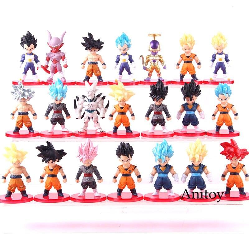 "La bola del dragón del Anime Súper Saiyajin Dios Hijo de Goku Ultra instinto Gohan Vegeta Vegetto azul freezer Zamasu ""figuras de PVC de juguete 21 unids/set"
