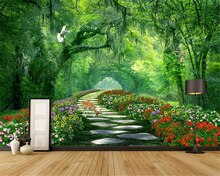 beibehang Custom size Modern Stereo Wallpaper Woods Park Green Shade Road 3d Landscape Background papel de parede papier peint