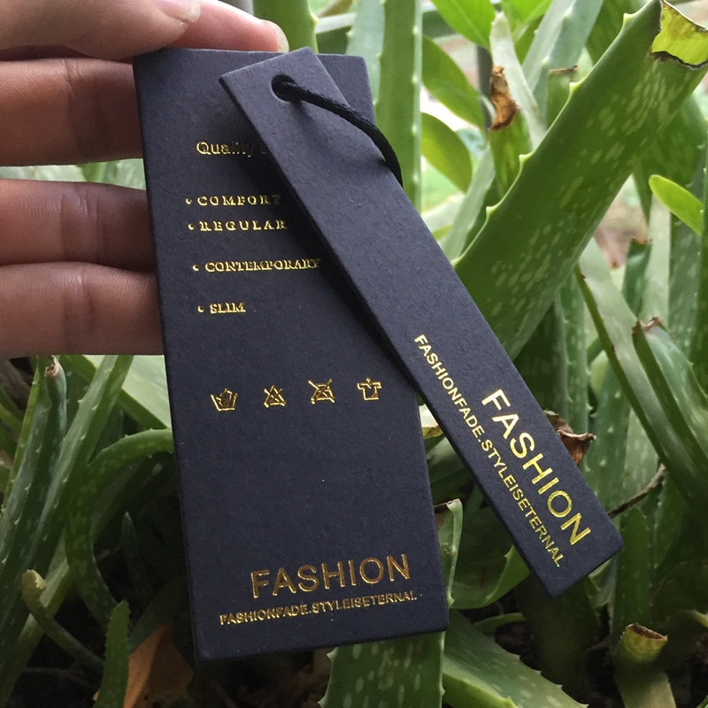 Nach schwarz papier gold silber folie stanzen papier preis hängen tag kleidung garment kleidung schaukel hängen papier etiketten tags