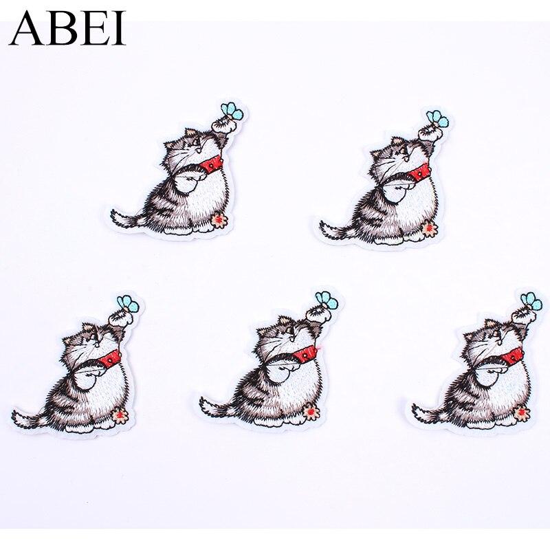 10 unids/lote de parches de dibujos animados con diseño de gato, calcomanías para ropa, jeans DIY, insignias para abrigo, apliques hechos a mano, parches cosidos