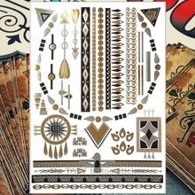 Nu-Taty Gouden Indische Totem Tijdelijke Tattoo Body Art Flash Tattoo Sticker 21*15Cm Waterdicht Tatto Henna nep Selfie