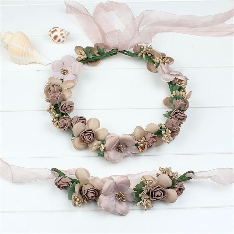Moda casamento bonito flor de noiva tiara coroa de flores coroa de coroa floral noiva coroas praia grinalda baile de formatura cocar