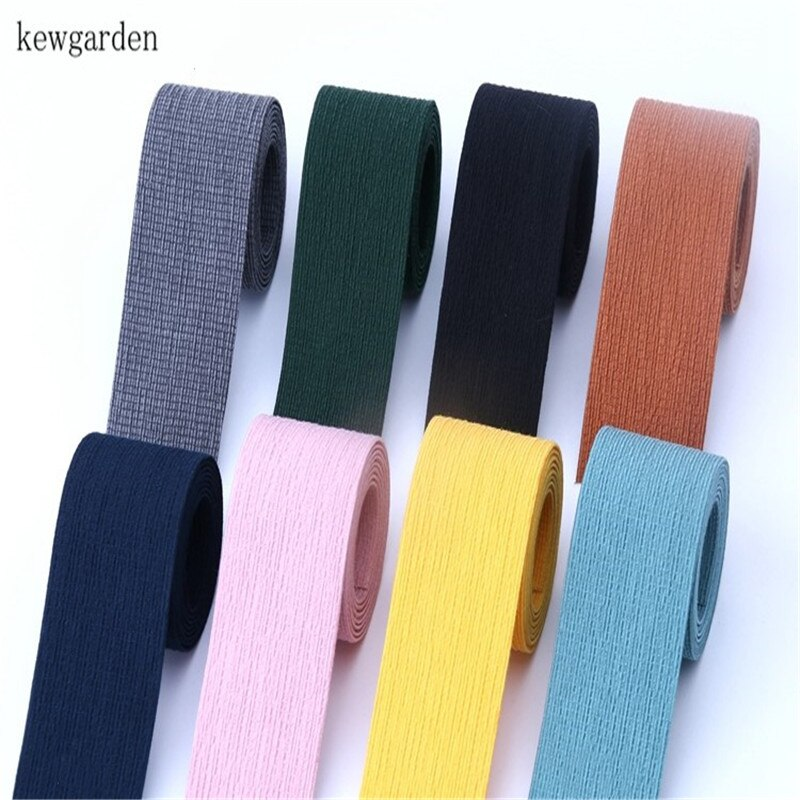 Kewgarden 40mm 4cm algodón Lino arrugas cintas de tela de capas DIY Bowknot satén cinta hecha a mano Riband 5 m/lote