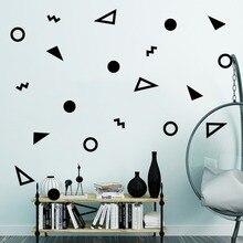 20 unids/set de pegatinas de pared circulares triángulos con forma geométrica de dibujos animados para niños habitación de bebé póster de armario regalo infantil pegatinas de vinilo para pared