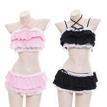 Kawaii, сексуальный женский комплект нижнего белья, Лолита, кот, девочки, оборки, Camisoles & юбка, комплект нижнего белья, sukummizu, японский комплект из двух предметов