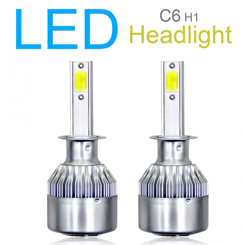 2 uds Universal H1 C6 10800LM 6000K 120W COB LED Kit de faros de coche hola o Lo bombilla de luz