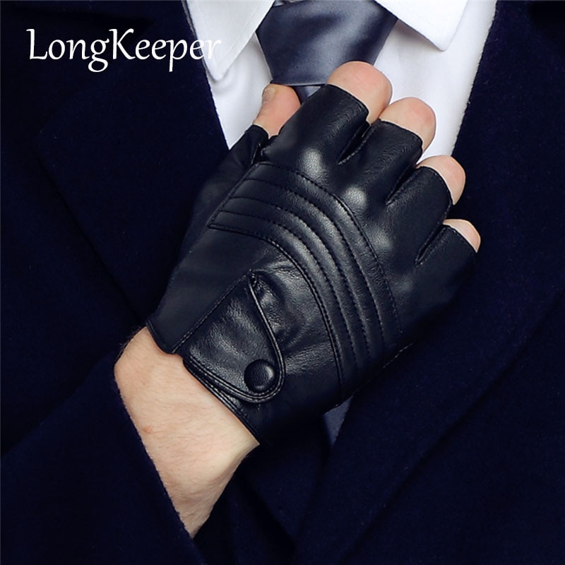 LongKeeper New Style Mens Leather Driving Gloves Fitness Gloves Half Finger Tactical Gloves Black Guantes Luva G223 the new black hawk skid protector gloves fitness means