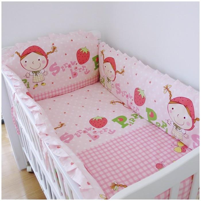 Juego de cama de cuna para bebé, ropa de cuna de fresa,...
