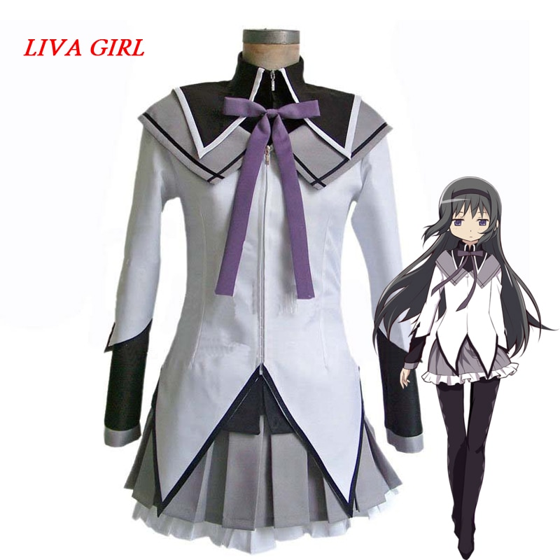 Liva chica Anime Puella Magi Madoka Magica Akemi Homura Cosplay traje de vestir personalización