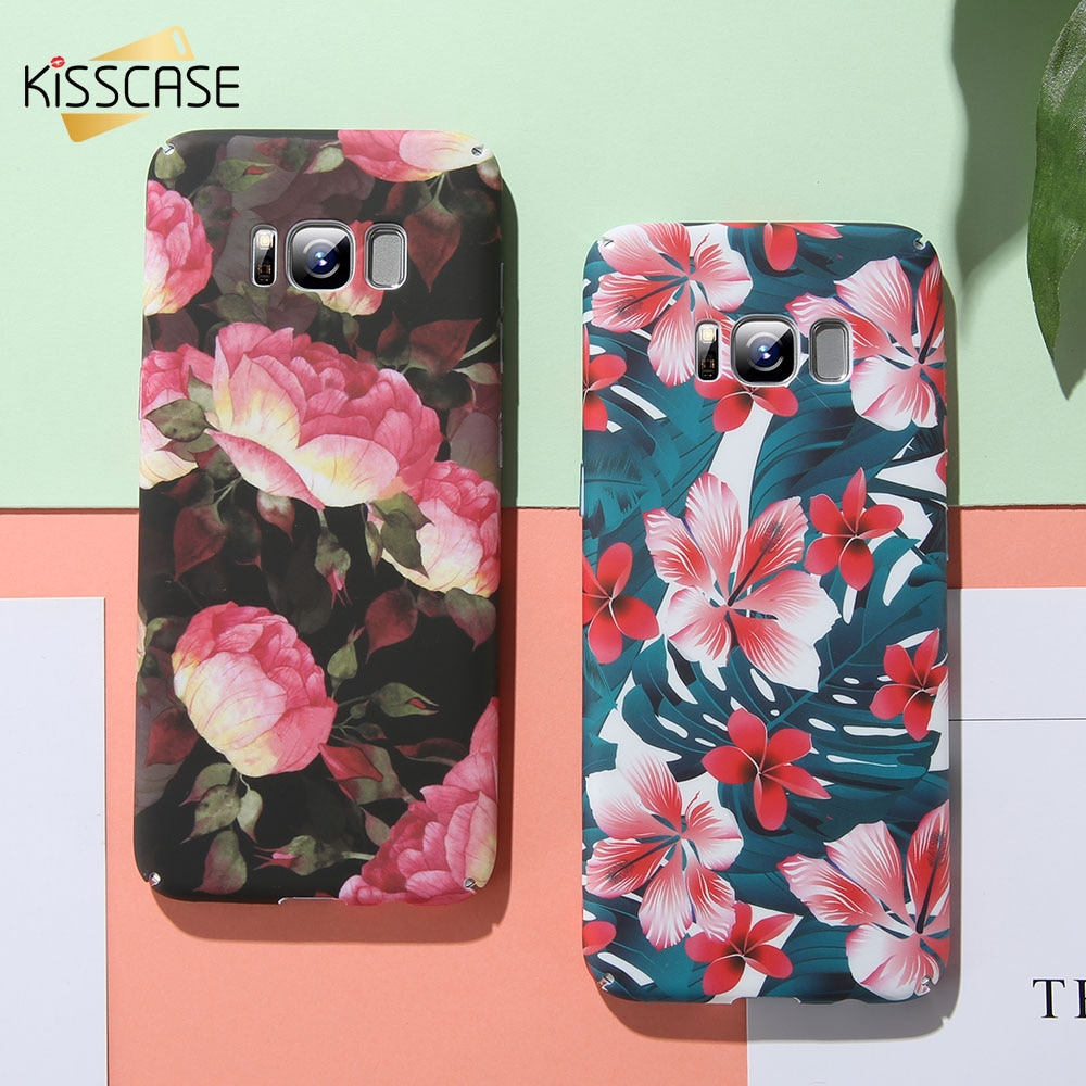 KISSCASE de planta de flor caso de teléfono para Samsung Galaxy J6 A7 duro de 2018 Flamingo caso para Samsung S8 más S7 borde S9 Floral