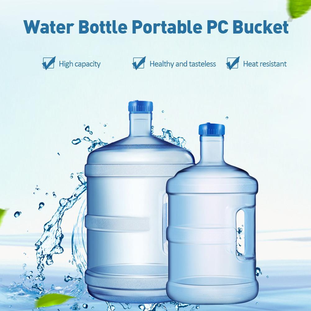 Cubo de agua Mineral 5/7.5L, botella de agua pura, Cubo de PC portátil, cubo de agua pura de gran capacidad para el hogar, cubo con mango