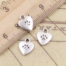 20pcs Charms Heart Dog Cat Paw 12x9mm Tibetan Silver Color Pendants Antique Jewelry Making DIY Handmade Craft