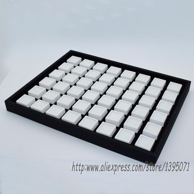 High-End Black Leatherette Gem Storage Tray 48 Cells Gemstone Box Diamond Holder Jewelry Case with  48pcs 3*3cm Gem Box