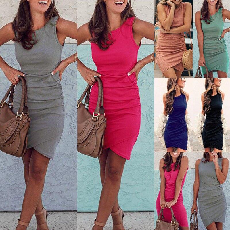Summer Dress 2018 Women Casual Beach Short Dress irregular midi Dress Sexy Party Dresses Vestidos S-XXL