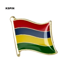 Insignia de la bandera nacional de Mauricio Pin de Metal para la ropa Rozet Makara monedas réplica KS-0119