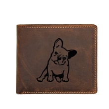 Gravierte FRANZÖSISCH BULLDOG Hund Vintage Männer Brieftasche mit Münzfach FRID Karte Halter Geldbeutel Luxus Rindsleder Männer Brieftasche