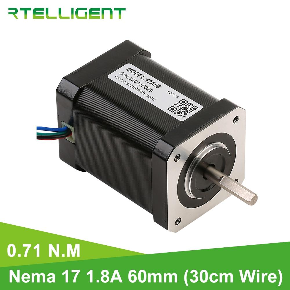 Motor de impresora 3D Nema 17 Rtelligent 71kgcm 7.1N. M (100,5 oz. in) 4 motor paso a paso de plomo para brazo de Robot de impresión