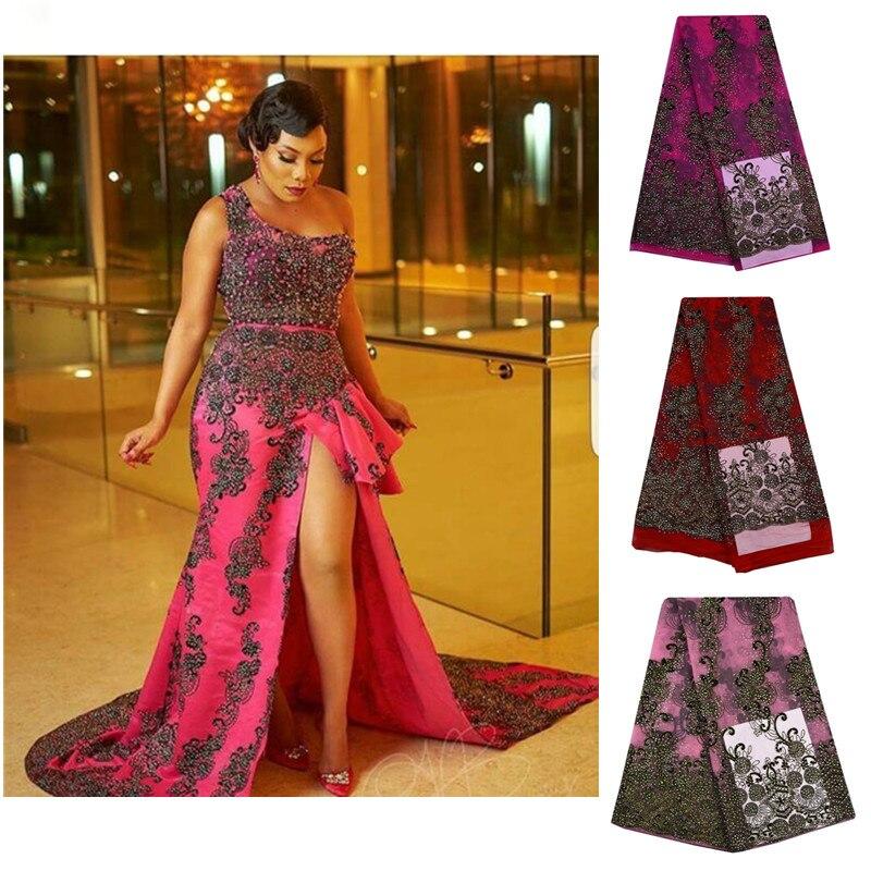 Encaje de red bordado de tul, telas de encaje francesas africanas, encaje nigeriano de alta calidad de encaje rojo francés con piedras, tela de encaje suizo S697