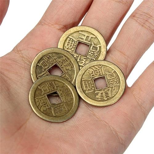 10 Pcs Fortunato Cinese Fortune Coin Orientale Imperatore Soldi Set Foro Hanging Decor